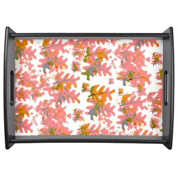 Warm Shades of Orange Fall Colored Leaves Pattern Food Tray