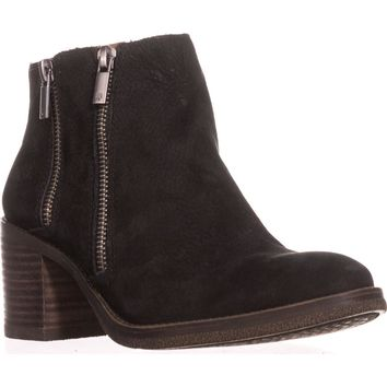 Lucky Brand Roquee Double Zipper Ankle Boots, Black, 7.5 US / 37.5 EU