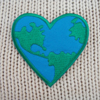 Love the Earth Heart Logo Applique Embroidered Iron on Patch