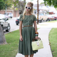 VTG '50s Olive Green Button-Up Day Dress XS