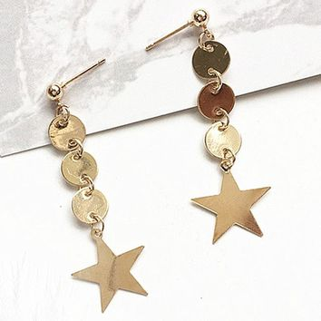 ES293 Star Pendant Stud Earrings Fashion Jewelry Geometric Circle Coin Brincos Earing pendientes mujer boucles Bijoux