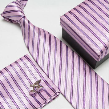 Pink and Purple Stripped Necktie Set with Matching Cufflinks, Pocketsquare and Gift Box