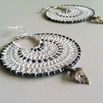 White Crochet Doily Earrings, Leaf Pattern Bohemian Jewelry, Black and White Big Crochet Hoops, Summer Beach Hoops, Gratitude Gift Idea