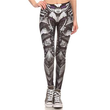 Hero Armor Women's Gray Slim High Waisted Elastic Printed Fitness Workout Leggings