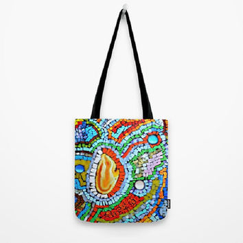Sunset, Abstract, Fire, Mosaic, Red, Yellow-Tote Bag - 3 Sizes Available-Baby Shower, Grocery, Beach, Busy Mom, Student-Made To Order-SFG#64