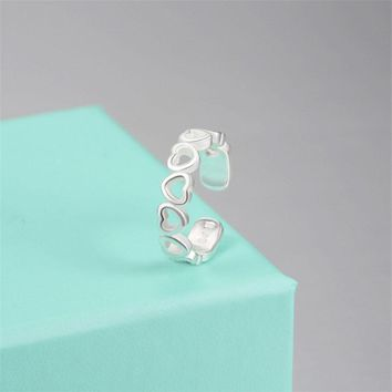 Luxury Hollow Heart Silver Adjustable Ring Open Cuff Toe Rings for Women Ladies Fashion Party Wedding Jewelry Mini Gifts XY3587
