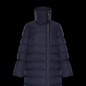 Moncler Women fashion down jacket Navy blue