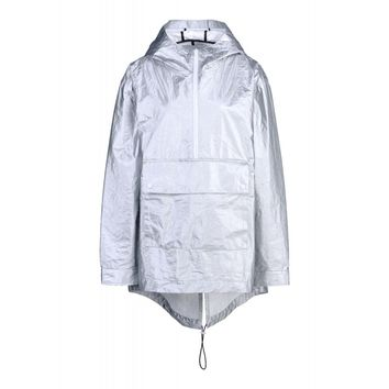 T By Alexander Wang Oversized Laminated Silver Shell Anorak - Metallic Rain Jacket - ShopBAZAAR