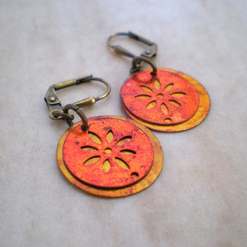 Flower Earrings: Orange - Copper Jewelry - Copper Earrings - Dangel Earrings - Fall Fashion - Fall Colors - Unique Jewelry - Autumn Jewelry