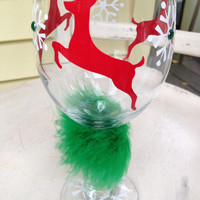 Ugly Christmas sweater wine glass, reindeer, snowflakes, bling, wine glass, customized, personalized, monogram, holiday gift, perfect party