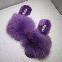 UGG Sheep fur one word drag the new autumn/winter slippers plush Purple