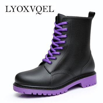 Fashion 2016 Women Rain Boots Rubber Lace Up Women Ankle Boots Waterproof Casual Comfo