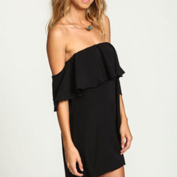 Black Off Shoulder Ruffle Dress - LoveCulture