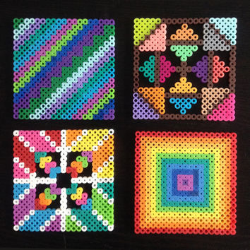 Colorful Perler Bead Square Coasters