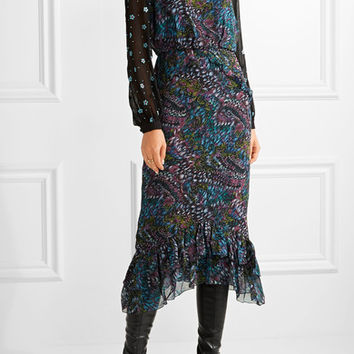 Saloni - Isa ruffle-trimmed printed silk-crepe midi dress
