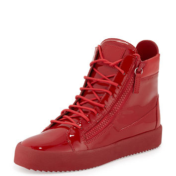 Men's Patent Leather High-Top Sneaker, Red