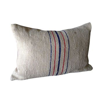Pre-owned Vintage Grain Sack Pillow