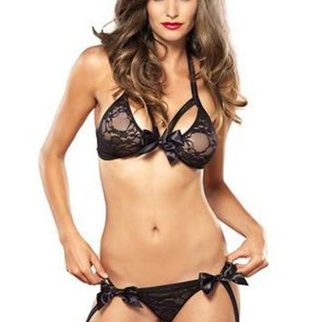 2pc.strappy Lace Bra Top And Garter G String W/satin Bow In Black