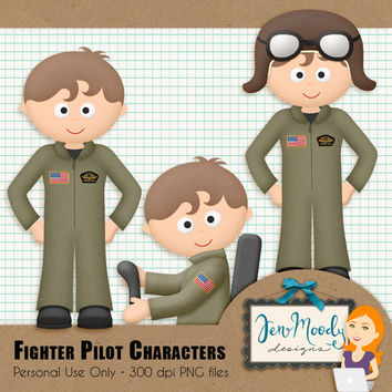 Instant Download: Fighter Pilot Clipart Element Pack, 3D / Beveled and Textured - Printable, Great For Scrapbooking, Personal Use Only