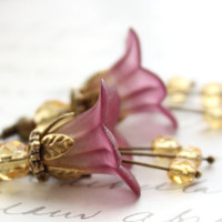 Lucite Flower Earrings Berry Purple Dangle Golden Honey Yellow Drop Woodland Pixie Fairie Faerie Nature Inspired Jewellery