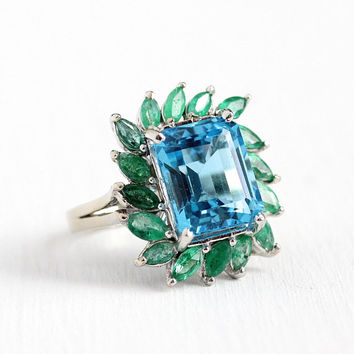Topaz & Emerald Ring - Estate 14k White Gold Genuine 5.97 CT Swiss Blue Gemstone Statement - Vintage Sz 6 1/2 Green Gems Fine Jewelry