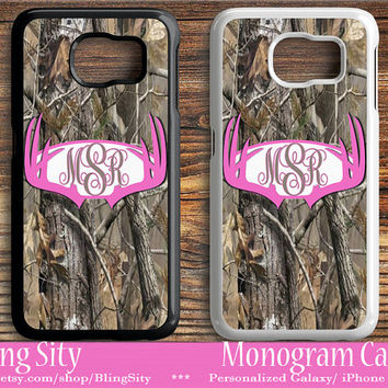 Monogram Galaxy S6 Edge case Hot pink Antlers Camo Deer Personalized Samsung S3 S4 S5 Note 2 3 4 Custom Tough Cover Country Hunting Girl