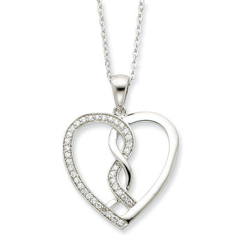 Sterling Silver Hearts Joined Together Sentimental Expressions Necklace