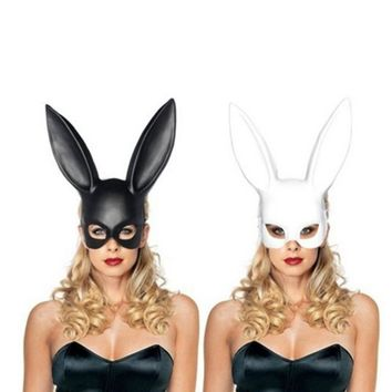 1PC Fashion Women Girl Party Rabbit Ears Mask Black White Cosplay Costume Cute Funny Halloween Mask Decoration