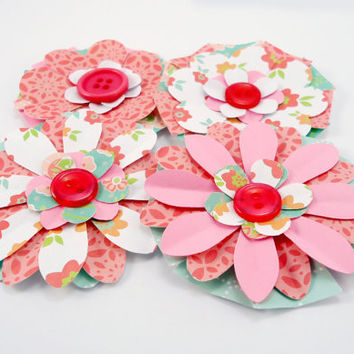 Paper Flowers Shabby Chic, handmade flowers, gift toppers, pink & green, scrapbooking embellishment, set of 4
