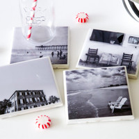Black and white coasters, black and white photo coasters, birthday gifts under 30 valentines gift ceramic tile coasters drink coasters resin