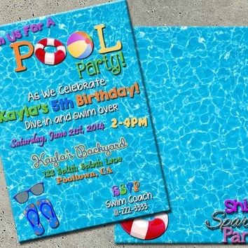 POOL PARTY INVITE - Pool Party Invitation - Summertime Pool Party Invitation - Pool Party Invite - Swimming Party Invitation - Pool Birthday