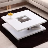 Modern Square Wood Coffee Table with Center with Glass Inlaid