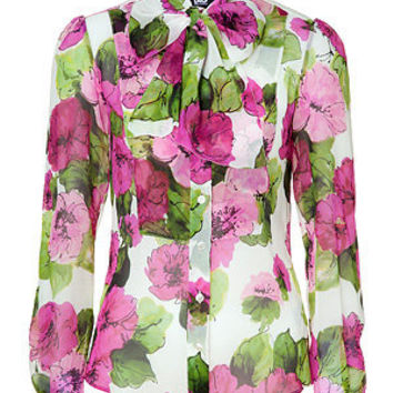 STYLEBOP.com | Pink and Green Sheer Floral Silk Blouse by D&G DOLCE & GABBANA | the latest trends from the capitals of the world