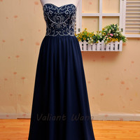 Navy Chiffon Crystal Prom Dress Sweetheart Bridesmaid Floor Length Dress