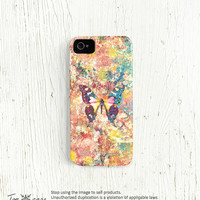 Apple iPhone case, iPhone 4 case, iPhone 5 case, hard plastic iphone 4 5 case, smartphone case butterfly iphone 4 case /c52