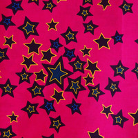 Pink stars African fabric African Textile by the Yard from African Fabric Shop Ankara fabric African Supplies African print