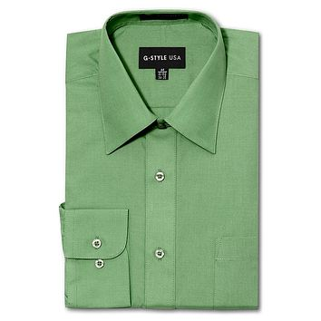 Men's Basic Solid Color Button Up Dress Shirt (Apple Green)