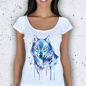 Watercolor Wolf Women Wide Collar T-Shirt / Special Production (Limited Edition)