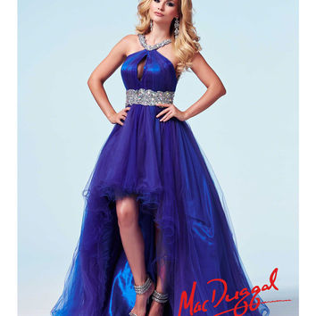 Mac Duggal 48126A Electric Blue Glass Stone Beaded Halter High-Low Gown 2015 Prom Dresses