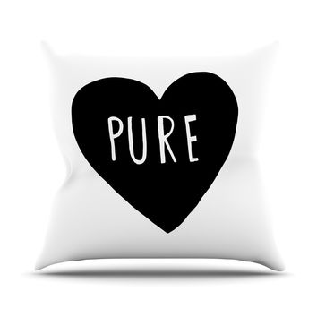"Leah Flores ""Pure Heart"" Black White Outdoor Throw Pillow"