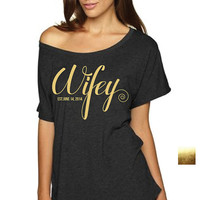 GOLD ** Wifey**  Bride OFF Shoulder, Bride T-shirt Wedding shirt Off shoulder T-shirt Bride night shirt wedding,