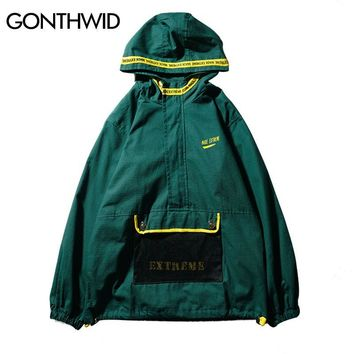 Trendy GONTHWID Front Pocket Half Zip Hooded Windbreaker Jacket Hip Hop Casual Pullover Hoodie Coat Mens 2018 Autumn Fashion Streetwear AT_94_13