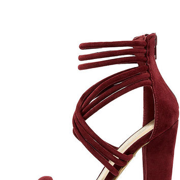 Sassy Swagger Burgundy Suede Caged Heels
