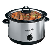 Crock Pot 5 Quart Oval Manual Slow Cooker, Stainless Steel