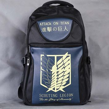 Cool Attack on Titan  Scouting Legion Laptop Black Backpack/Double-Shoulder/School/Travel Bag for Teenagers or Animation Enthusiasts AT_90_11