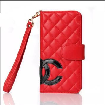 iphone6Splus mobile phone sets flip Iphone 7 wallet-type drop protection cover 5SE leather lanyard female luxury Chanel