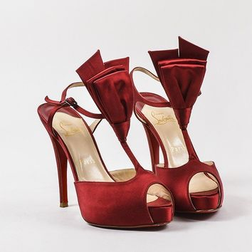 PEAP Christian Louboutin Red Satin Peep Toe   Ernesta Bow   T-Strap Pumps