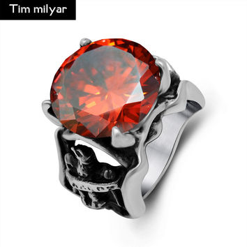 High Quality Red Stone Mens Ring 316 Stainless Steel Exquisite Fashion Popular Jewelry Alondra Carved Cut Rubies Ring 2017 New