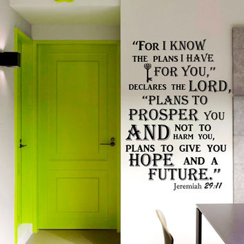 Wall Decal Quote Jeremiah 29:11 Bible Verse Wall Vinyl Decal Words Bedroom Wall Home Decor Art Vinyl Quote Decal Sticker  KV38