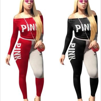 2018 Spring Street t-shirt Tops and Jogger Set Suits Casual Bodcon 2pcs Outfits Pink Letter Print Tracksuits Women Two Piece Set